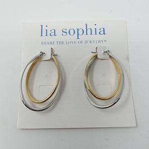 Lia Sophia Two Tone Hoop Earrings